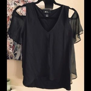 BCX Blouse with sheer panel layer